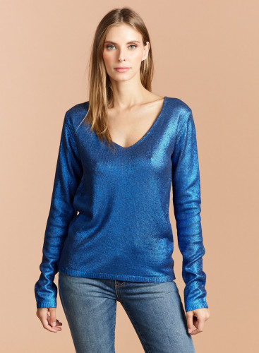 V-neck Metallized Sweater