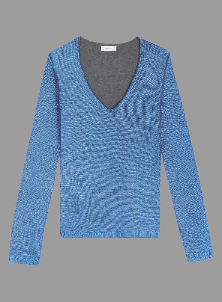 V-neck Metallized Sweater