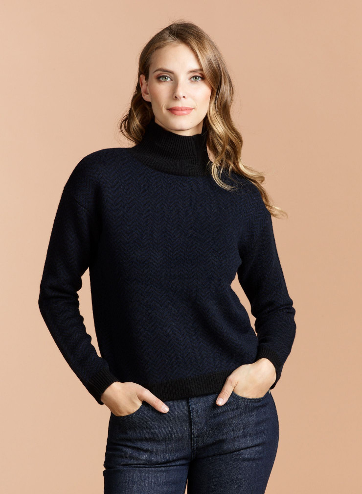 Stand-up collar Herringbone Sweater