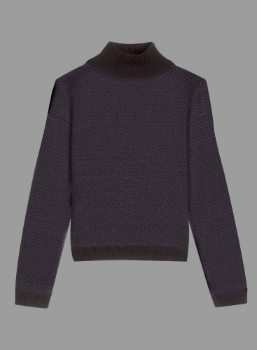Turtleneck Herringbone Sweater