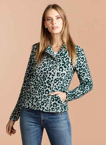 Velvet panther pattern asymmetrical zipped Jacket