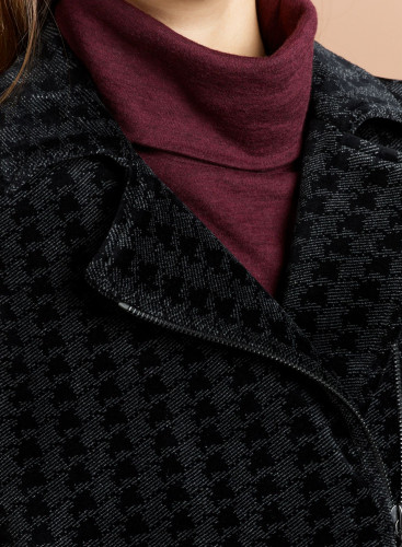 Velvet houndstooth asymmetrical zip Jacket