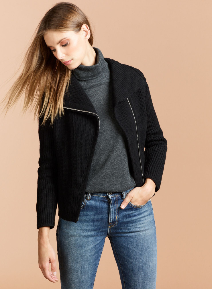 Knitted asymmetrical zip Jacket