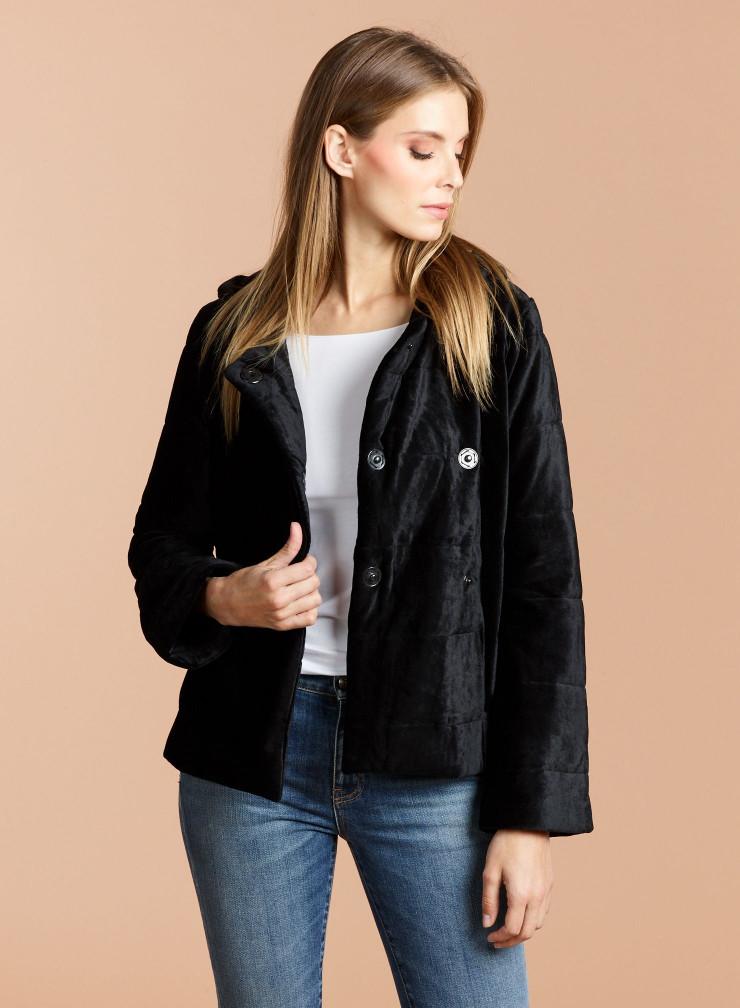 Velvet short hoodie Coat