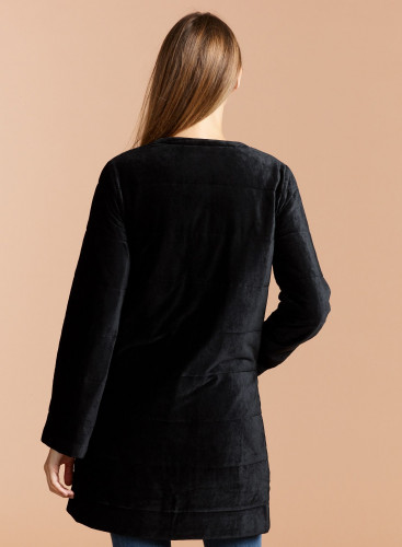 Velvet round neck Coat