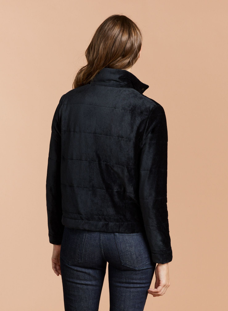 Manteau court col montant velours matelassé