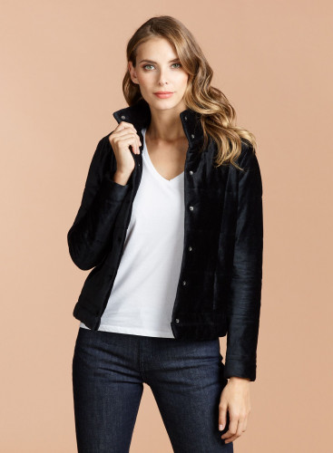 Velvet stand-up collar short Coat