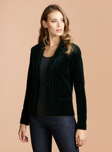 Velvet houndstooth 1 button Jacket