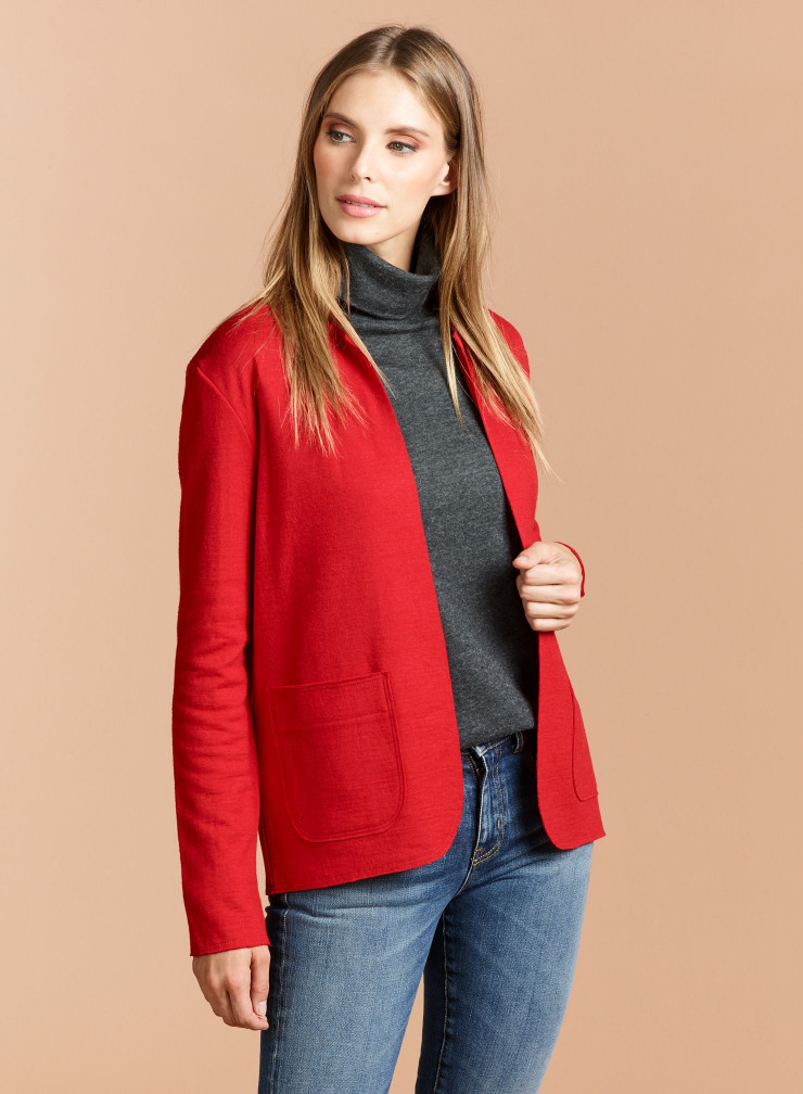 Woolen mix buttonless Jacket