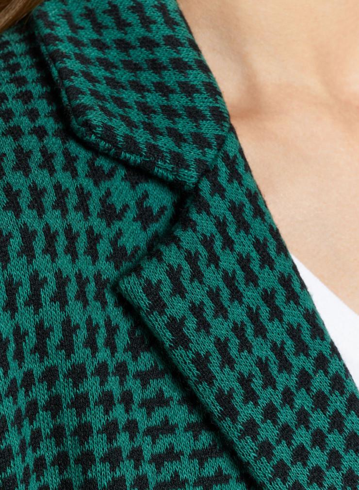 Manteau mi-saison à carreaux motif pied-de-poule