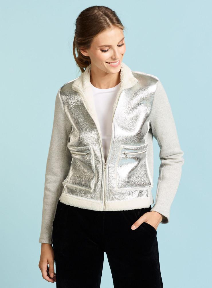Veste molleton de coton et peau lainée métallisée