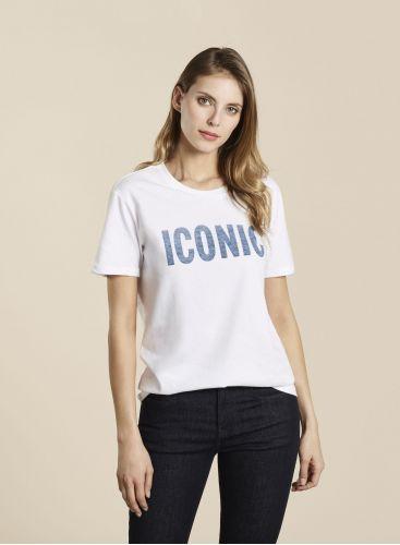 T-shirt coupe Boyfriend Col rond ICONIC blanc/bleu