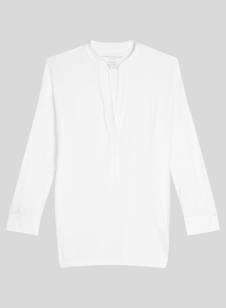 Tunisian collar 3/4 sleeve T-shirt