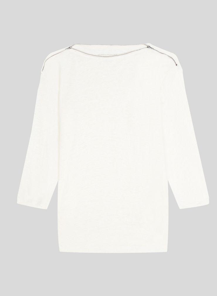 T-shirt col bateau zippé manches 3/4