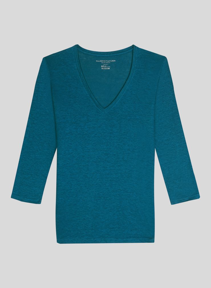 V-neck 3/4 sleeves T-shirt