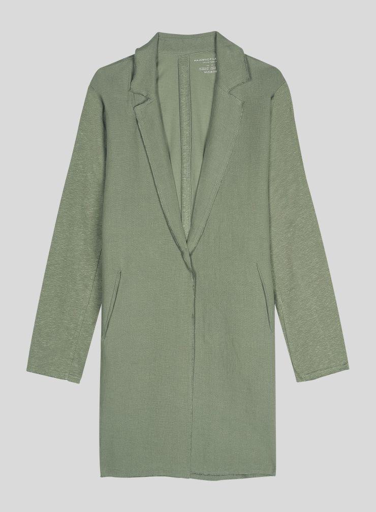 Mid-season Coat with raw seam
