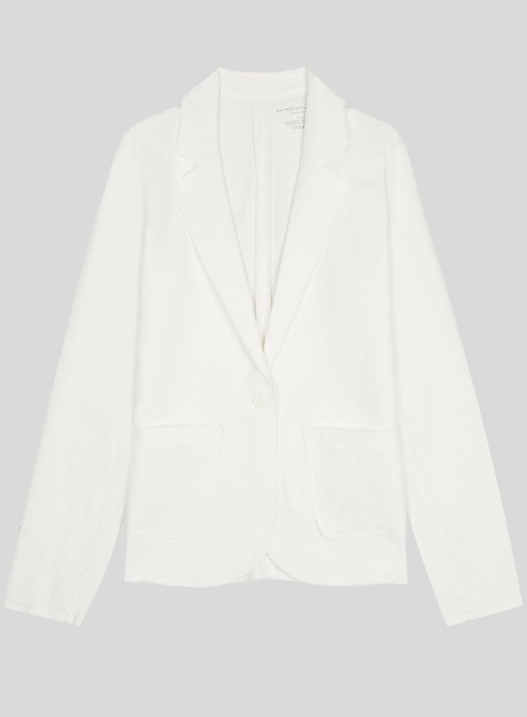Patch pocket Jacket with raw seam