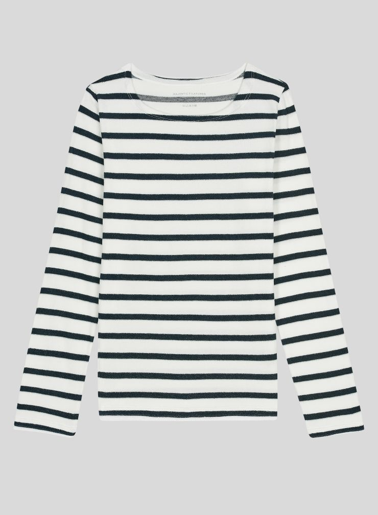 Boat neck stiped T-shirt