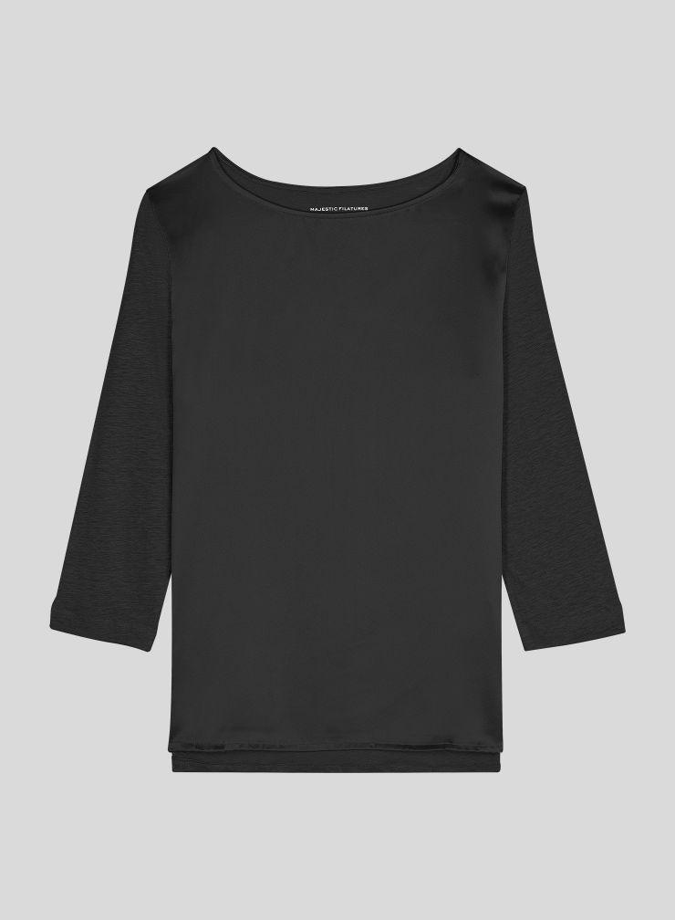 T-shirt col bateau manches 3/4 empiècement soie
