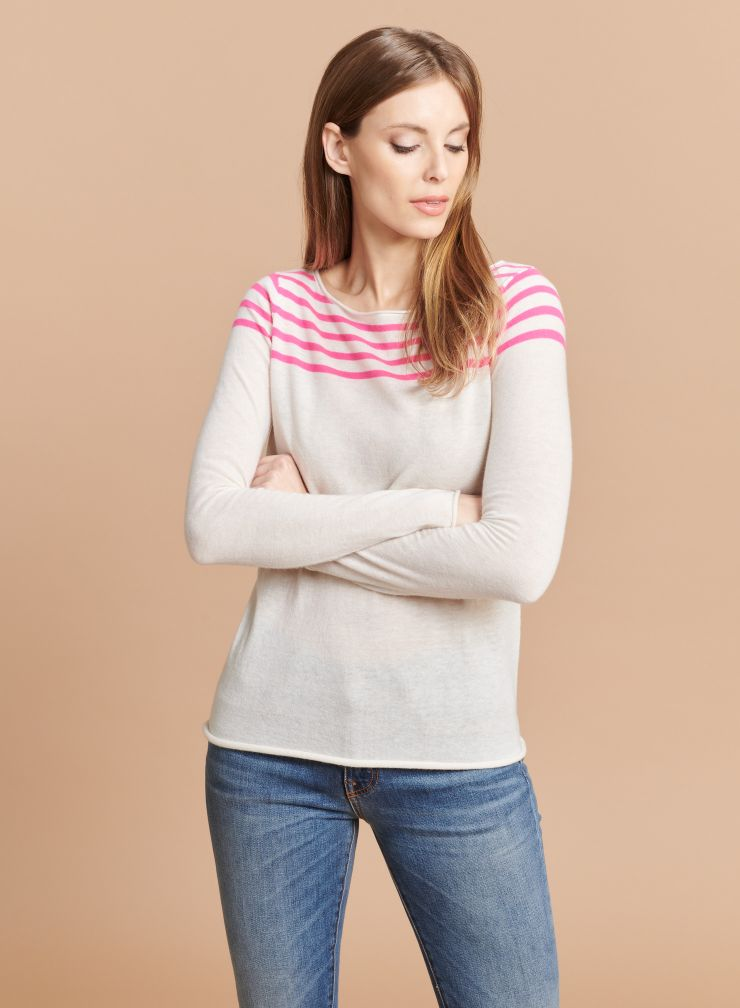 Round neck striped Sweater