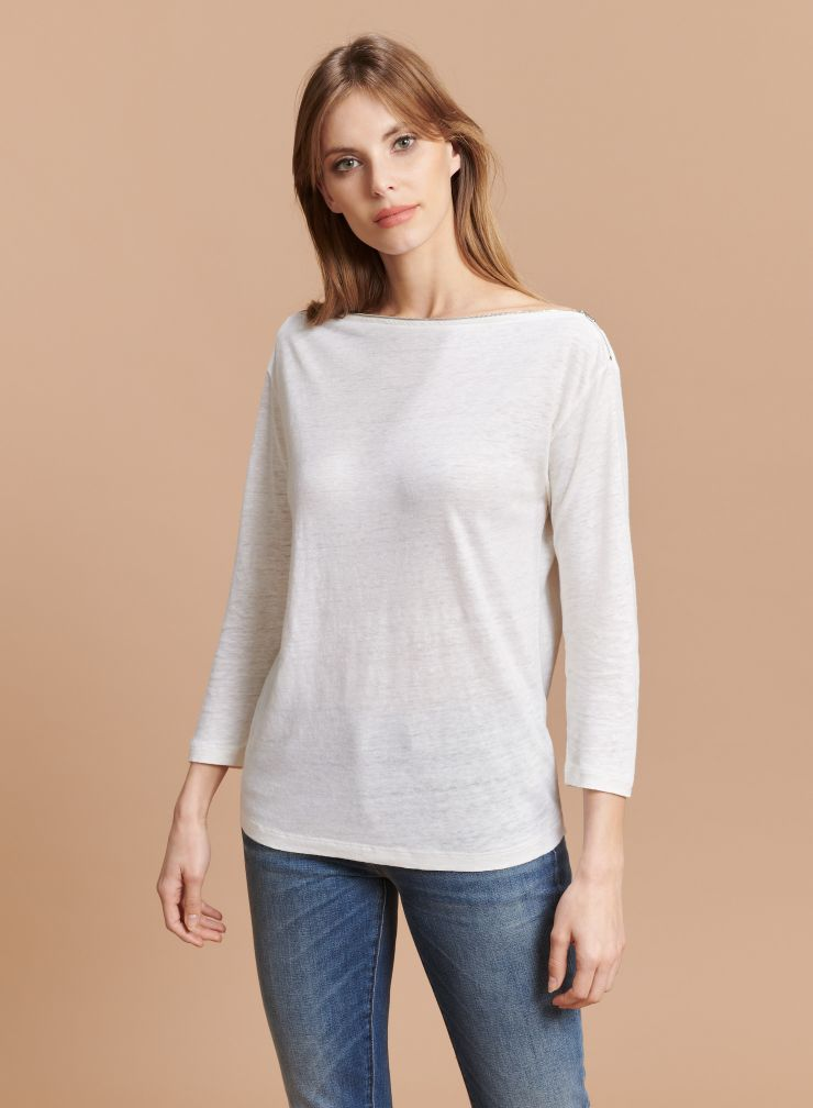 Zipped boat neck T-shirt with 3/4 sleeves