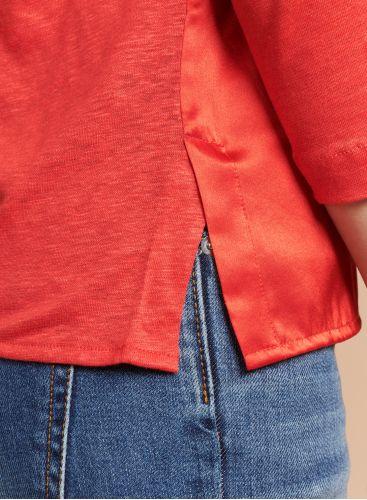 Boat neck silk panel T-shirt