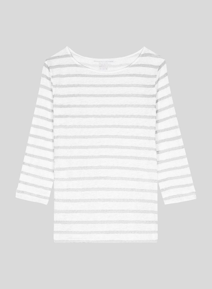 T-shirt col bateau manches 3/4 marinière métallisée