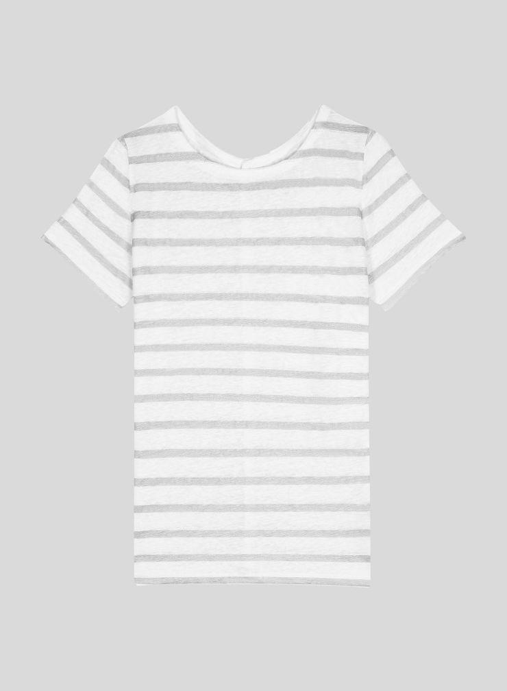 T-shirt col bateau marinière métallisée