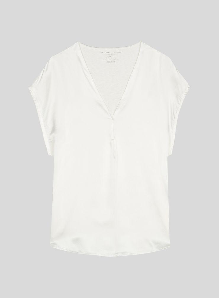 T-shirt col V sans manches empiècement soie
