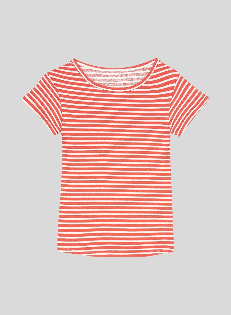 T-shirt col bateau marinière boxy