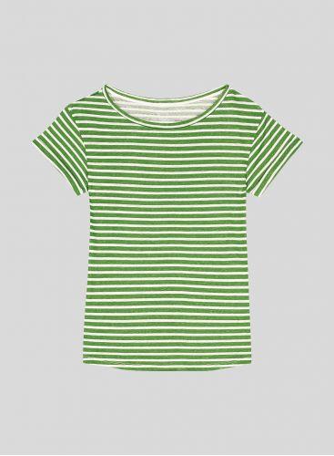 Boat neck stiped boxy T-shirt
