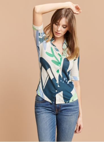 Printed elbow sleeved Shirt