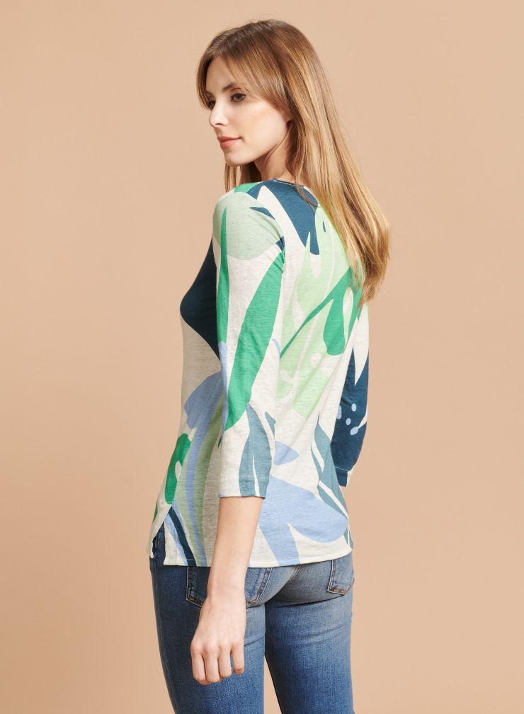 Boat neck printed T-shirt