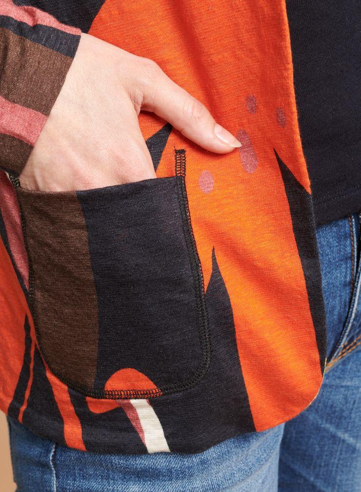Veste poches plaquées imprimée