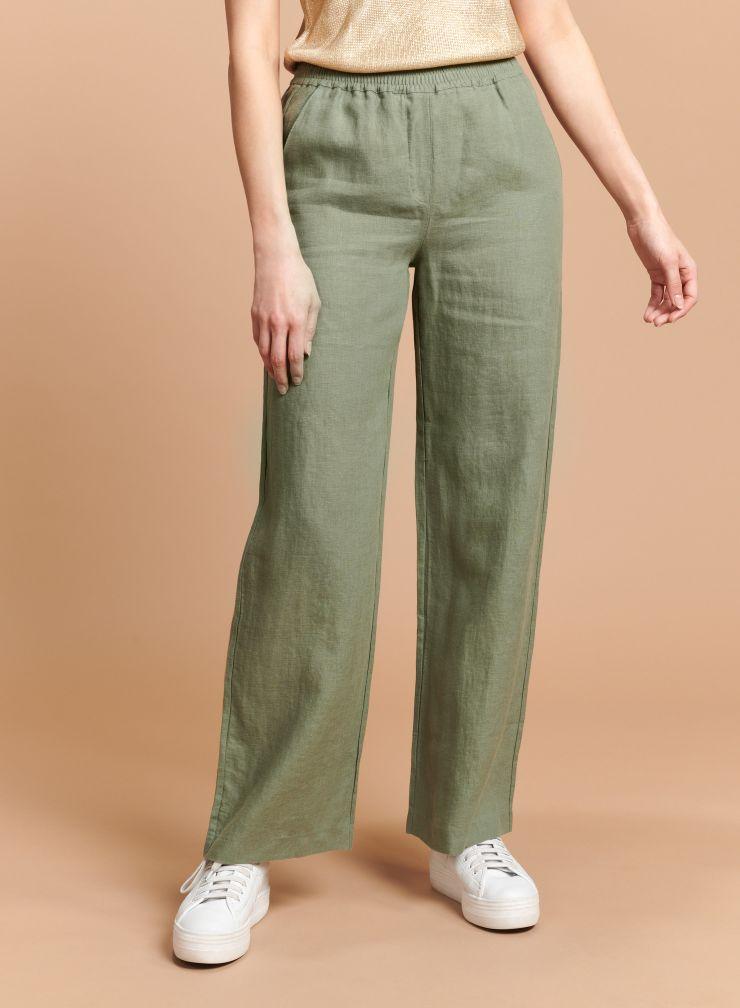 Elasticated waisted straight Pants