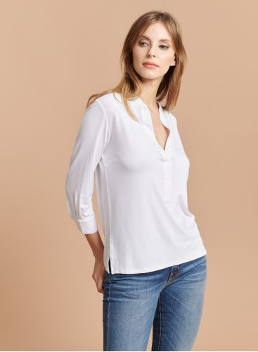 Tunisian collar 3/4 sleeve T-shirt