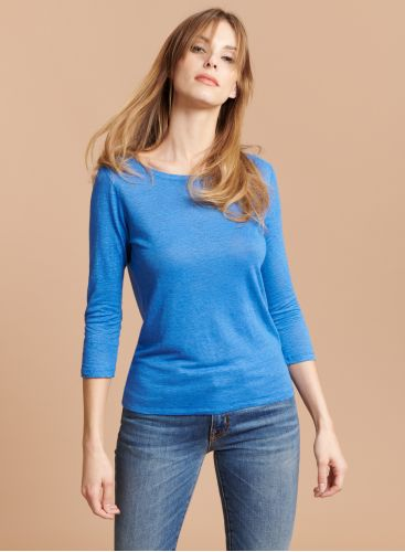 Boat neck buttonned back T-shirt