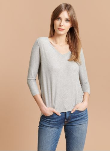 V-neck shimmering 3/4 sleeves T-shirt