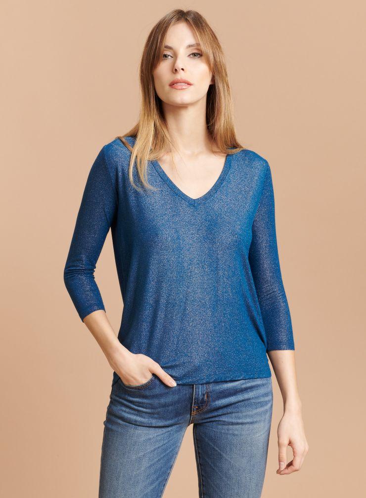 V-neck shimmering 3/4 sleeves T-shirt