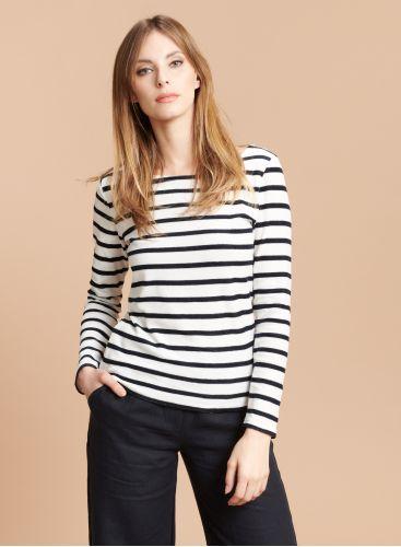 sponge boat neck stiped T-shirt
