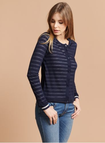 Striped cardigan style T-shirt