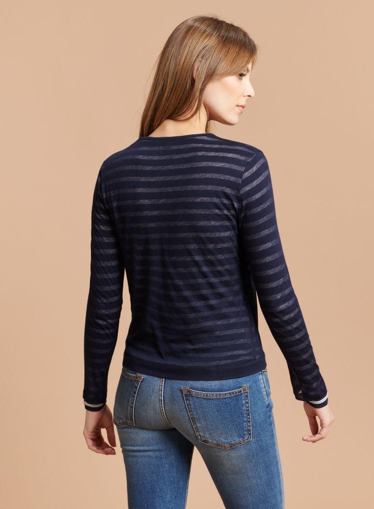 Striped cardigan style T-shirt