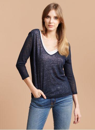 V-neck & back double T-shirt