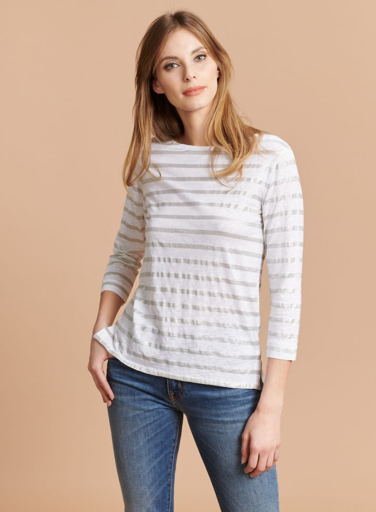 Boat neck shimmering striped T-shirt