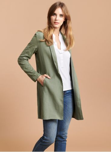 Manteau mi-saison bords francs