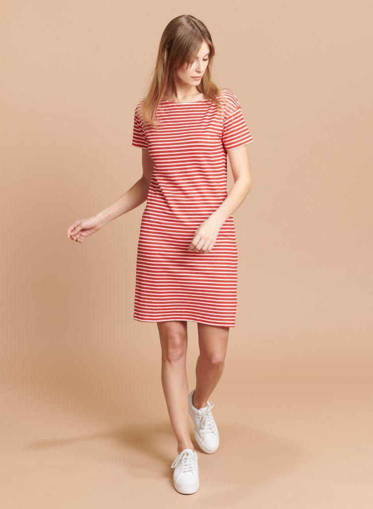 Striped boat neck Dress