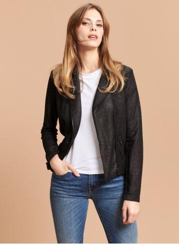Asymetrical shimmering zipped Jacket