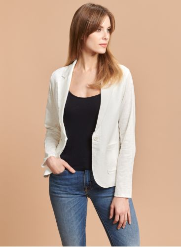 Patch pocket Jacket with raw seam
