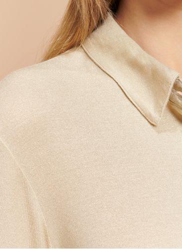 Chemise métallisée pli creux au dos