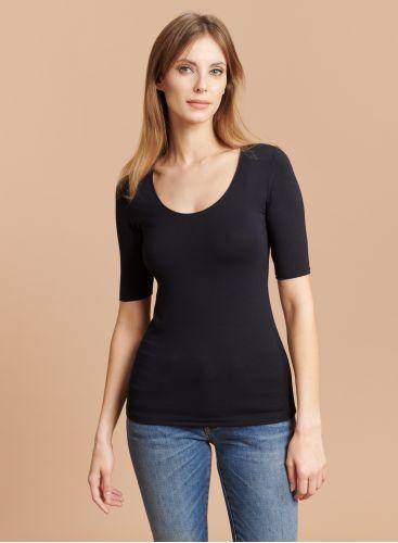 U-neck elbow sleeves T-shirt
